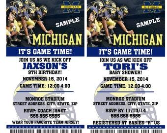 Printable Michigan Wolverines College Football Birthday Party Invitation NCAA Ticket Invitation Baby Shower Invitations