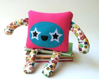 Friendly Monster Softie, Handmade Monster Plushie, Monster Soft Toy, Plush Monster, Stuffed Animal, Nursery Decor, Nursery Toy, Felt Monster