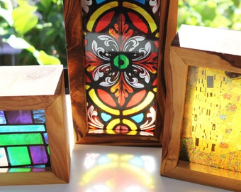 Large Stained Glass Handmade Timber Light Box. Translucent prints that glow in natural light!