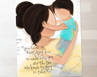 Mother and Child - Dark Brown Black Hair  - Child's Room Wall Art Print Gift