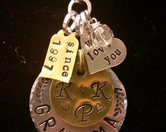 Grandmother Stamped Metal Necklace