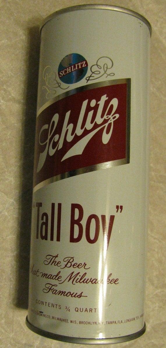 "Items similar to Vintage SCHLITZ ""Tall Boy"" 3/4 Quart Beer ..."