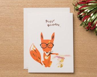 Set of 4 - Birthday Card - Animal Lover - Fox & Rabbit