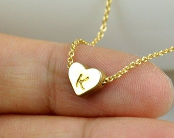 Gold Tiny Heart Necklace, Hand stamped initial on heart charm Necklace, Bridesmaids gift, Wedding gift, Simple necklace, Dainty necklace