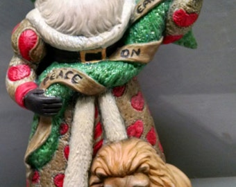 SALE!!!Peace Santa -- Heirloom-quality handpainted ceramic Santa -- Christmas mantel decor