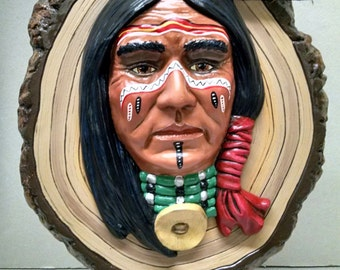 SALE!!!Warrior Plaque--Native American Indian Figurine--Heirloom Quality--Home Décor--Hand-Painted Ceramic Figurine--