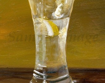 Gin and Tonic Print of original oil painting by English Artist Claire Strickland