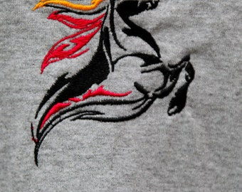 Tribal Friesian embroidered on Medium gray t-shirt