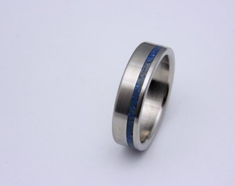 Titanium wedding band with Lapis Lazuli inlay, Special Gift Idea