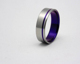Titanium ring with plum crazy purple pinstripe,  Handmade titanium wedding band
