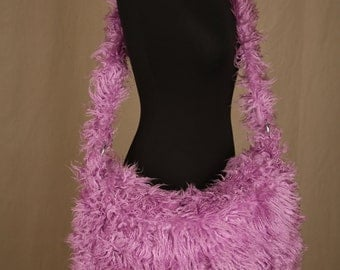 Limited Edition Purple Fluffy Funky, Faux Fur, Hippy Chick Style, Messenger Bag/Crossbody Bag by Zebra-skins