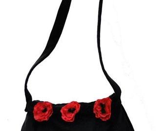 Black velvet bag with poppies