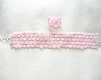 Pink beaded bracelet, pink beaded ring, adjustable pink bracelet, pink ring, pink bracelet