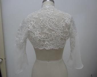 Lace Jacket/Bolero with Silk Georgette Sleeve Detail.