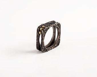 Black Square Ring, Womens black ring band, square ring silver and gold jewelry, oxidized silver ring, simple modern jewelry