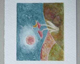 Singing Bird in a Flower / Original Watercolor Painting