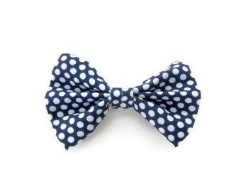 Navy and White Polka-dot Hair Bow | navy hair clip | hairbow | navy bow | hair accessories | hair clip for girls | alligator clip | nautical