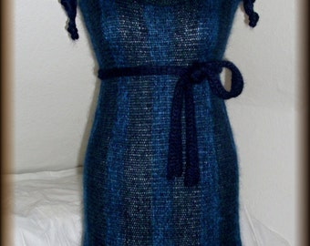 Mohair dress, knitted dress, knitted wool dress with hose and belt scarf, unique