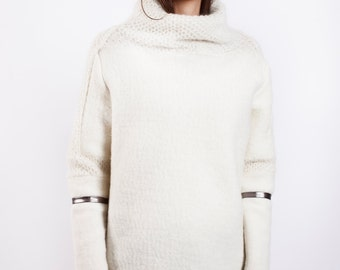 Cashmere Sweater, Oversized Sweater, White Turtleneck Sweater, Cashmere Top, Loose Sweater, Plus Size Sweater, Long Sweater, Wool Sweater