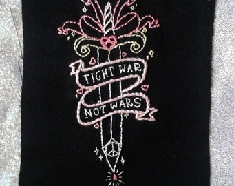 Made To Order CRASS ''Fight War Not Wars'' Anarchy Banner and Dagger Hand Embroidered OOAK Patch