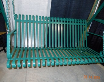 Handcrafted Wrought Iron Outside Porch Patio Garden Hanging Bench Swing Seat