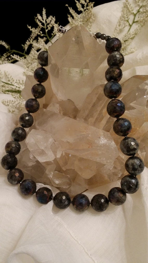 """Faceted Gray Labradorite Statement Necklace-20"""""""