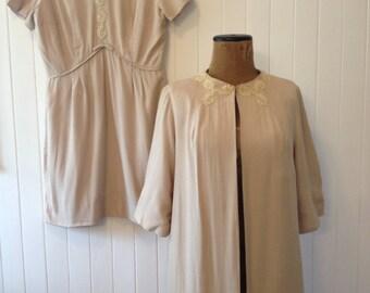 Vtg cream dress and overcoat, both lined
