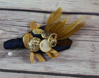 Navy blue and Gold Boutonniere