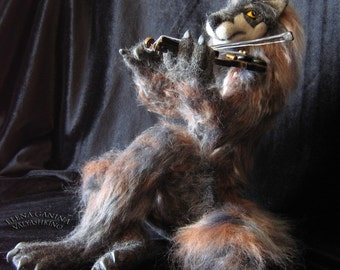 Werewolf-violinist - Hand made - Needle felted - Home decor - Fiber art - Interior toy - OOAK