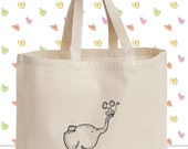 Items similar to Cute Elephant and Mouse Canvas Tote Bag ...
