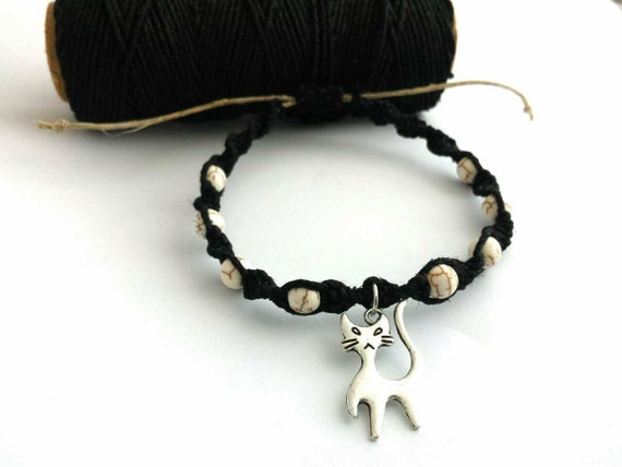 spooky cat bracelet beaded hemp bracelet black howlite