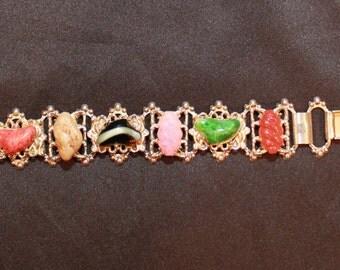 1970's Vintage Gold Multi Colored Stone Bracelet