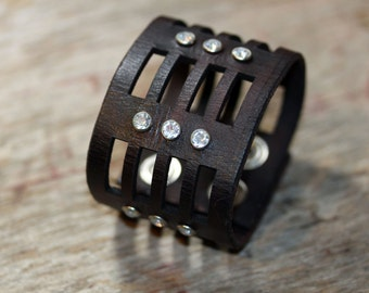 Black Leather Cuff Laser Cut with Bling- leather bracelet, crystal rivets, girl friend gift, bff gift, mothers day