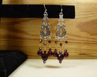 Crystal Earrings, Renaissance Earrings, Dangle Earrings, Long Earrings, Hippie Earrings, Purple Earrings