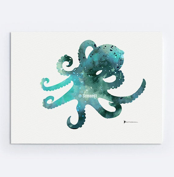 Octopus colorful art print sea watercolor painting by for Colorful octopus painting