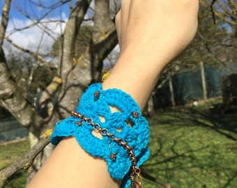 Turqoise bracelet crochet*made in Italy*applications copper colour