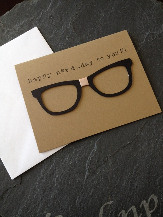 Handmade happy birthday nerd greeting card unisex but great for man