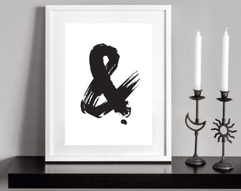 Black Ampersand. Printable and decorative wall art. Instant Download for 3 High Resolution JPEG files.