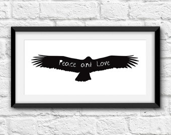 Peace and love. Printable and decorative wall art. Instant Download for 3 High Resolution JPEG files.