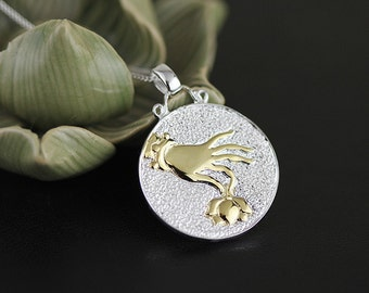Lotus Handprint Pendant Cameo Disc Sterling Silver Pendant Gold-filled Pendant Women Pendant