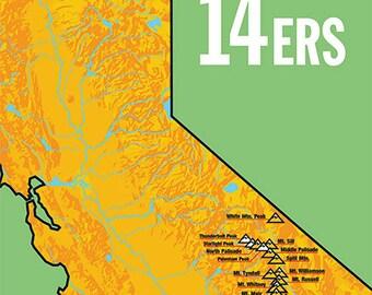 California 14ers Map 18x24 Poster #401