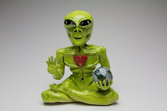 Original handmade ceramic alien sculpture