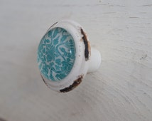 Distressed Teal Dresser Drawer Knobs in Distressed White With Teal Pattern Inlay, Cabinet Knobs, Turquoise, Shabby Chic, Cottage Knobs