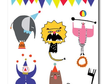 Circus - Temporary Tattoo Stickers for Birthday, Carnival