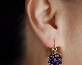 SAPPHIRE BLUE earrings / bridesmaid gift jewelry / unique dangle earrings / sapphire earring