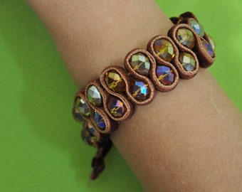 And Brown velvet beaded bracelet