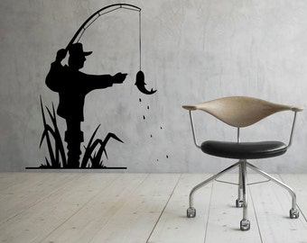 Fishing Wall Decal Vinyl Stickers Fisherman Art Design Interior Fishing Murals (42fis3r)