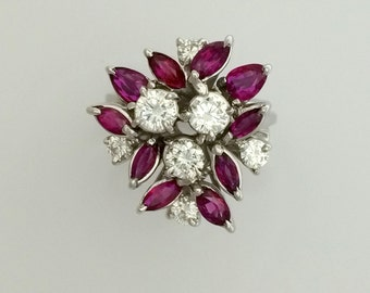 1.70 ct. Ruby & 0.90 ct.Diamond Hand Made Cocktail Ring - 18K White Gold - Antique - Vintage - Art Deco - Marquis Ruby Ring