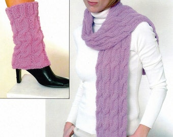 Cabled Scarf and Leg Warmers Knitting Pattern - Knitted Hat and Leg Warmers Pattern - Hand Knit Pattern - Plymouth Yarn Design Studio Scarf