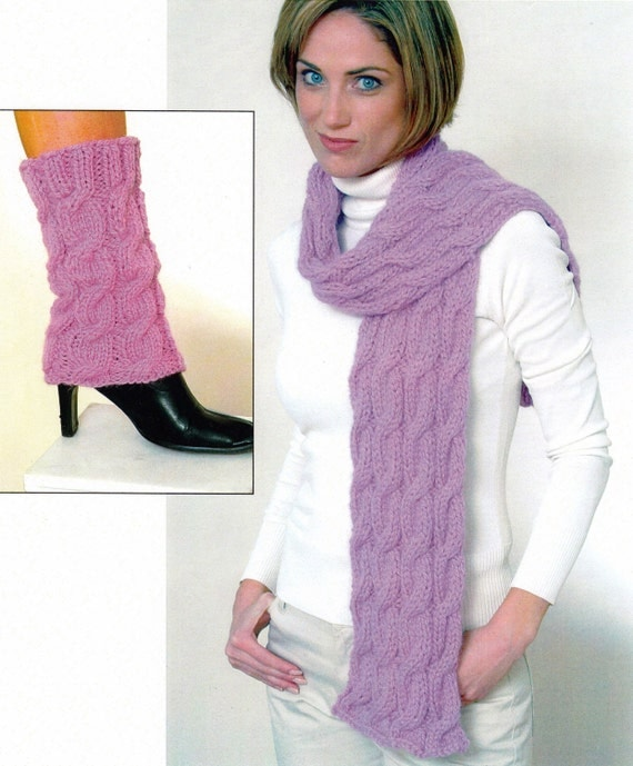 Cable Knit Leg Warmers Knitting Pattern : Cabled Scarf and Leg Warmers Knitting Pattern Knitted Hat